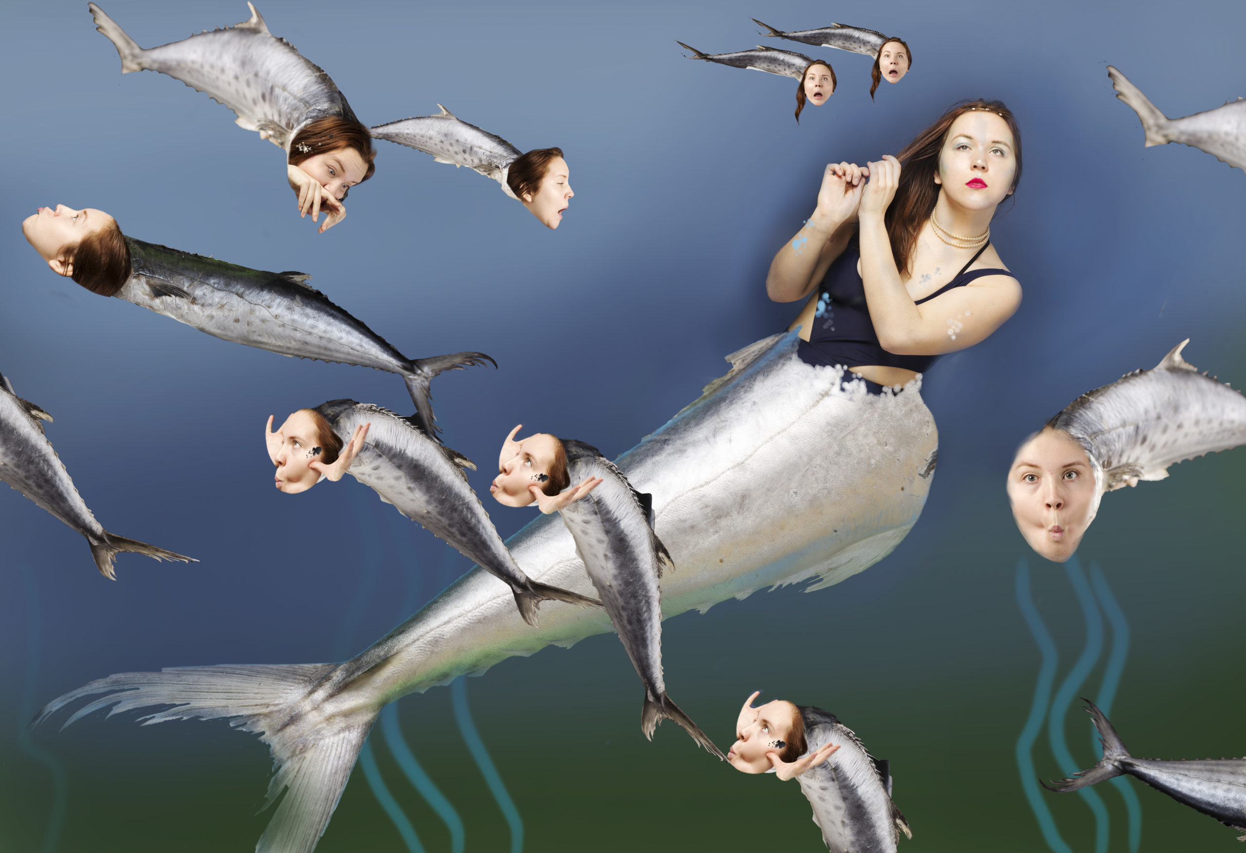 A photomontage depicting images of the artists edited with a fishtail over her legs, as well as edited over the faces of many fish in the background