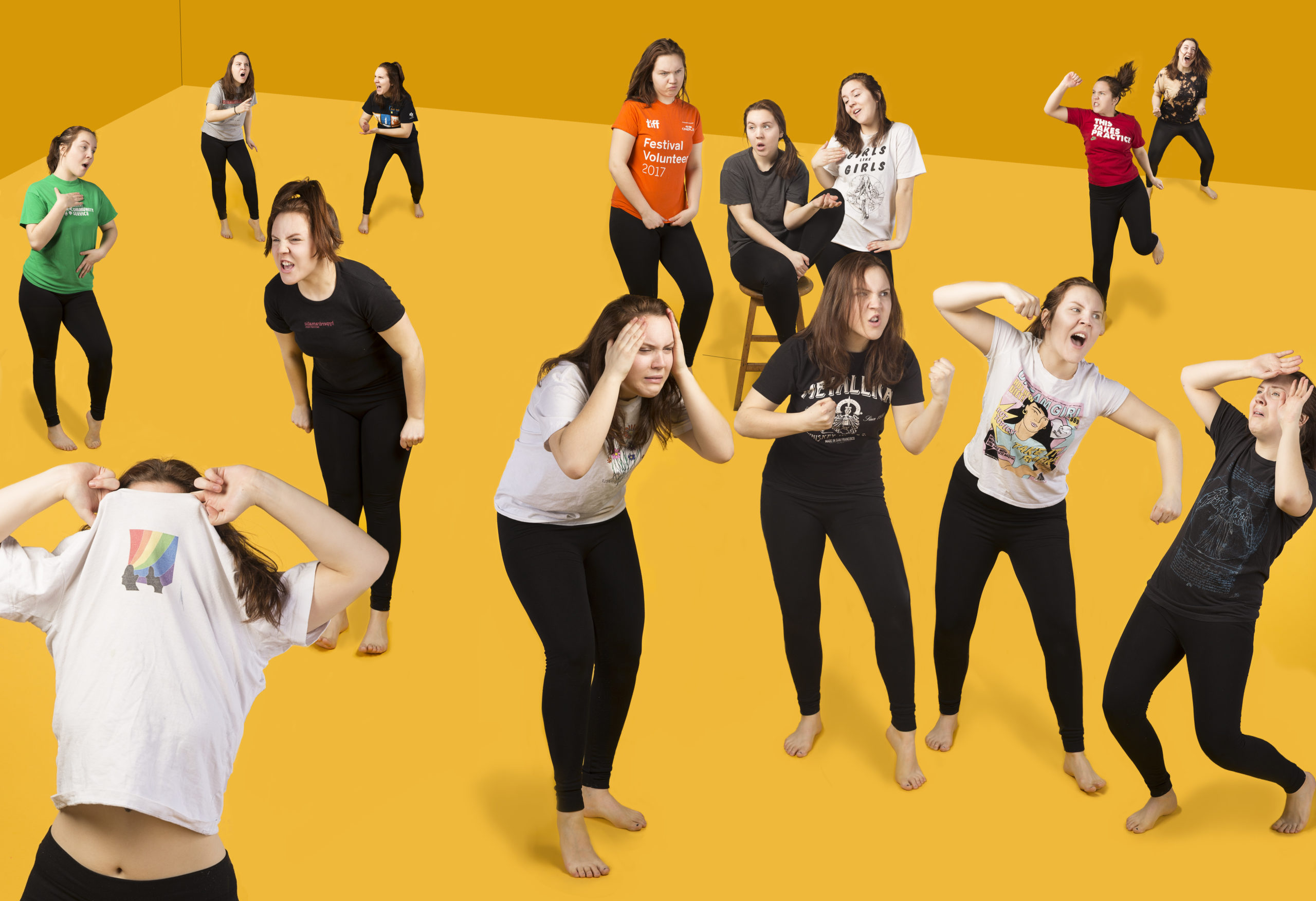 Photomontage depicting a dozen different versions of the artist against a yellow background, they are each wearing a different T-Shirt and shouting dramatically