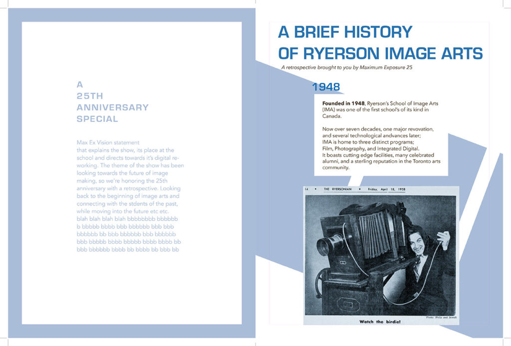 Sample of graphic design work, the first spread from a foldout that goes through the history of the school of image arts