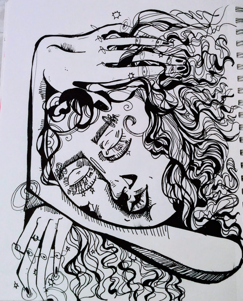ink drawing of a woman sleeping