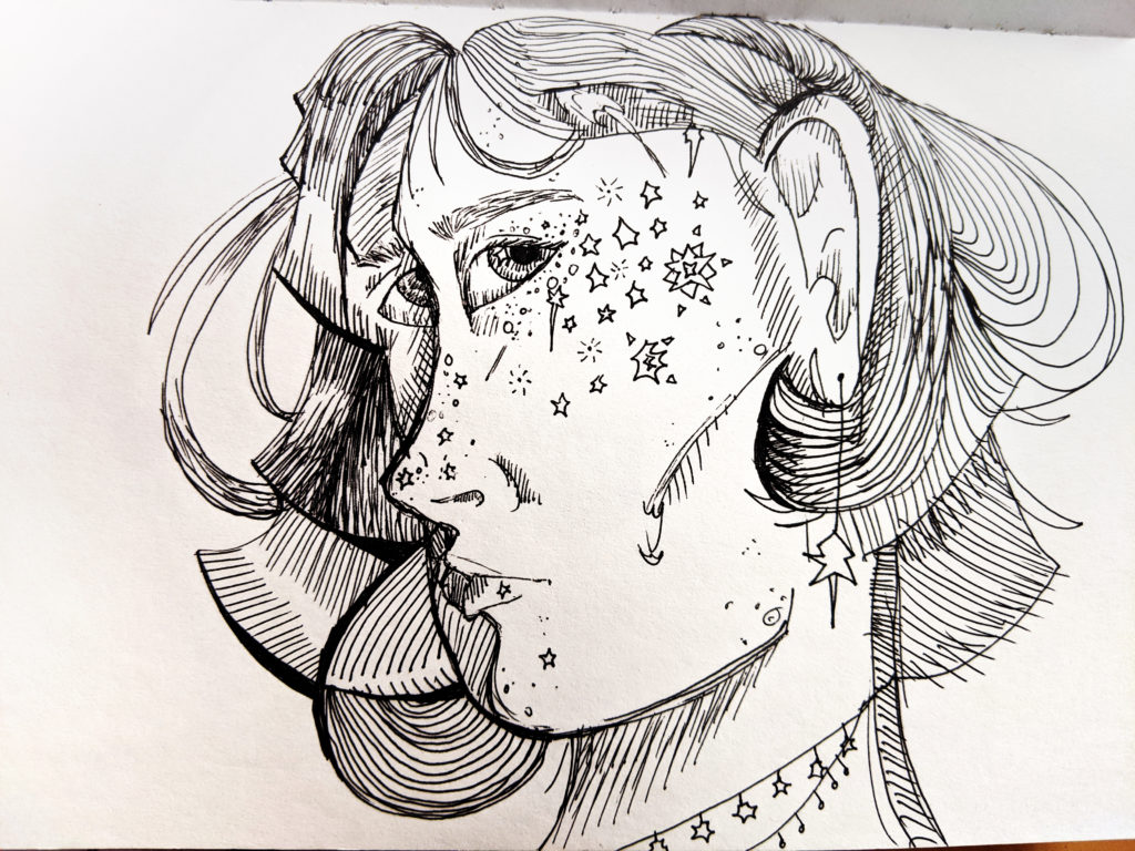 ink drawing of a girl with stars for freckles