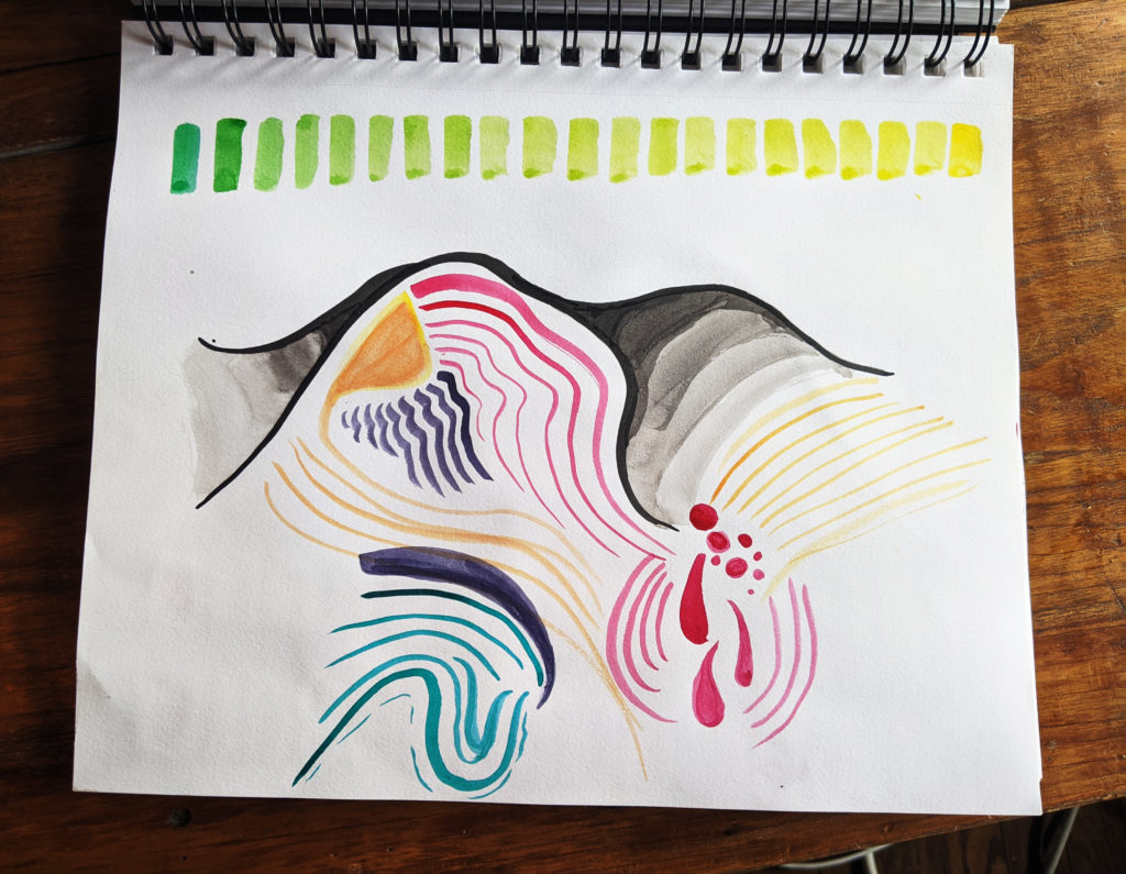 ink drawing of a dune, with multicoloured patches